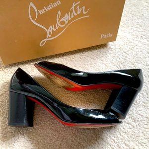 "CHRISTIAN LOUBOUTIN peep toe patent ""Aperto"" pumps"